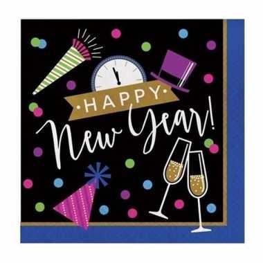 Oud nieuw zakdoeken zwart/blauw happy new year