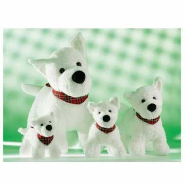 Pluche witte Terrier hondje knuffel zakdoek