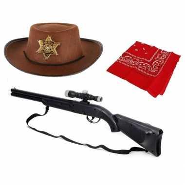 Speelgoed verkleedaccessoires set cowboy kinderen zakdoek