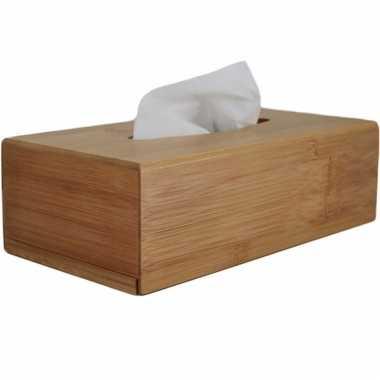 Tissuedoos/tissuebox rechthoekig bamboe hout zakdoek