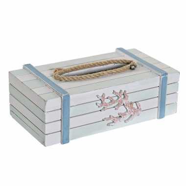 Tissuedoos/tissuebox wit rechthoekig hout zakdoek