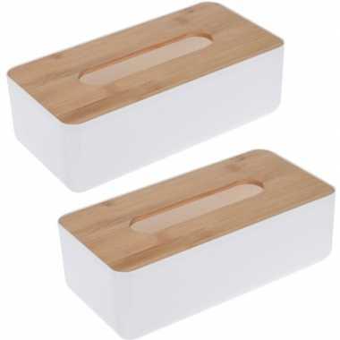 X tissuedoos/tissuebox rechthoekig kunststof bovenkant bamboe hout wit zakdoek