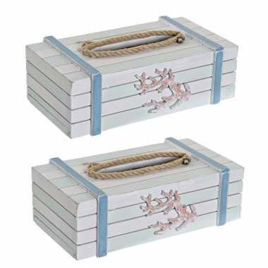X tissuedozen/tissueboxen wit rechthoekig hout zakdoek