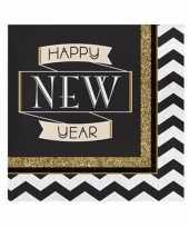 Oud nieuw zakdoeken zwart goud happy new year