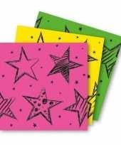 X neon kleuren feest zakdoeken papier
